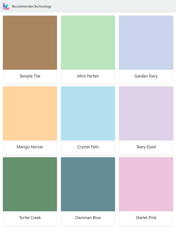 Temple Tile Mango Nectar Turtle Creek Mint Parfait Crystal Falls Oarsman Blue Garden Fairy Teary Eyed Starlet Pink Flieder Farbschema Farbkonzept [ 1360 x 976 Pixel ]