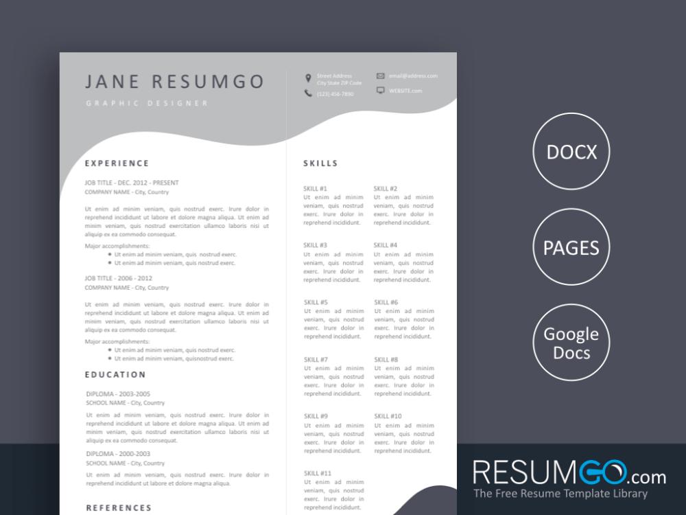 Melina Undulating Modern Gray Resume Template Resumgo Com Resume Templates Resume Design Template Free Resume Template Word