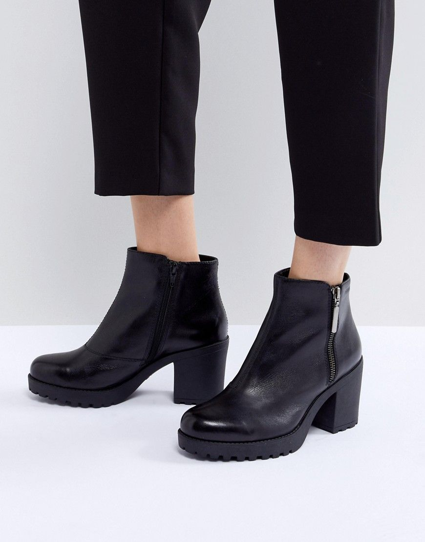 VAGABOND GRACE POLISHED BLACK LEATHER ANKLE BOOT WITH SIDE ZIP - BLACK.   vagabond  shoes   c1b4424417