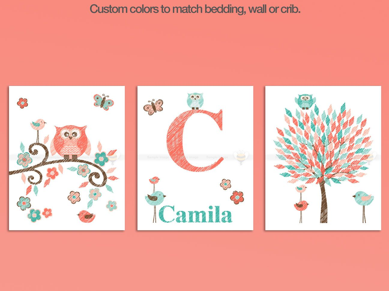 Coral And Turquoise Owl Nursery Decor Art, Mom And Baby Owl, Baby Name  Initial