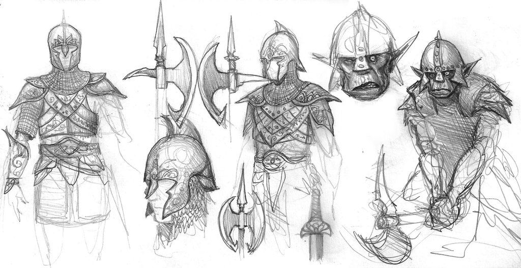 Elf and orc sketches 2 by BrokenMachine86 on DeviantArt