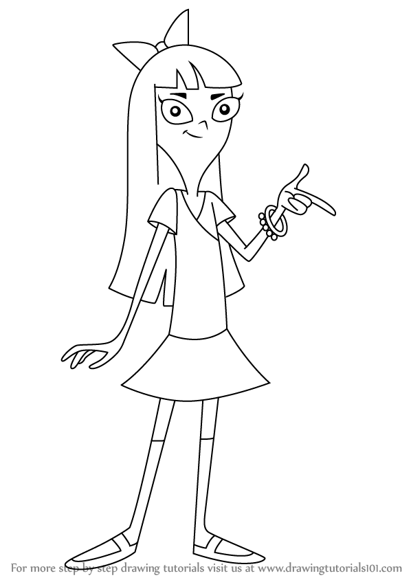 How To Draw Stacy Hirano From Phineas And Ferb Drawingtutorials101 Com Disney Art Drawings Disney Drawings Disney Character Drawings