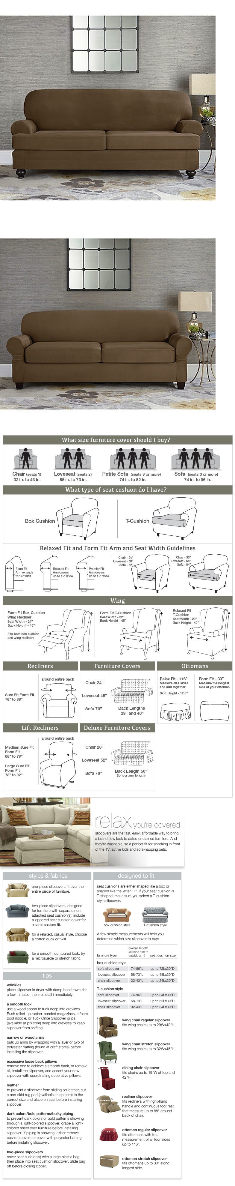 Slipcovers Sure Fit Sofa Slipcover Stretch Suede 2 Seater