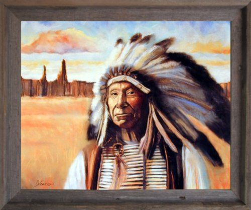 Indian Chief /& Tepees Native American Mahogany Framed Wall Decor Framed Picture