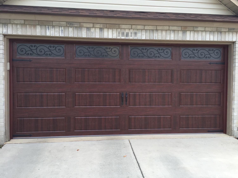 New Install 16x7 Bead Board Garage Door With Mahogany Woodgrain Finish And Magnetic Hardware Garage Doors Garage Door Design Garage Door Styles