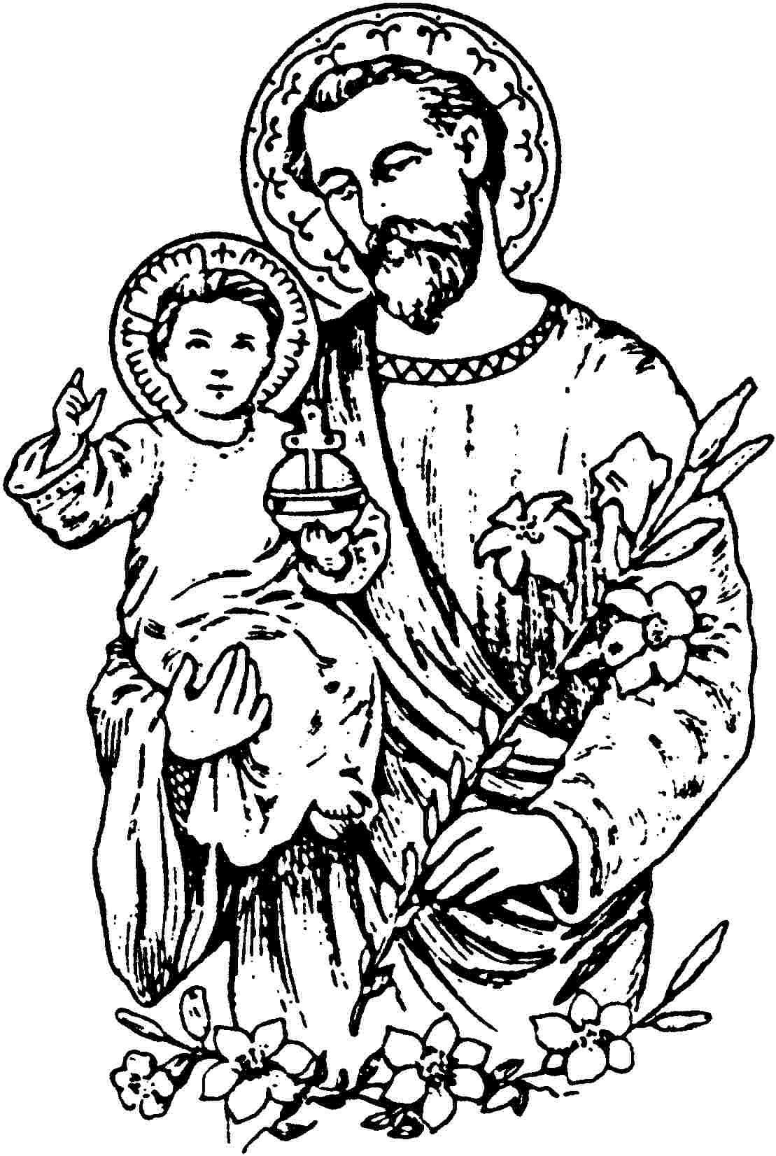 Saint Joseph Catholic Coloring Coloring Pages Catholic Coloring Sheets