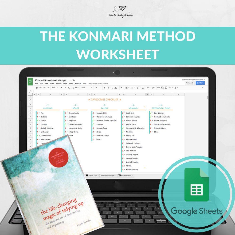 KonMari Method Spreadsheet, Decluttering Workbook, Spark Joy Guide ...