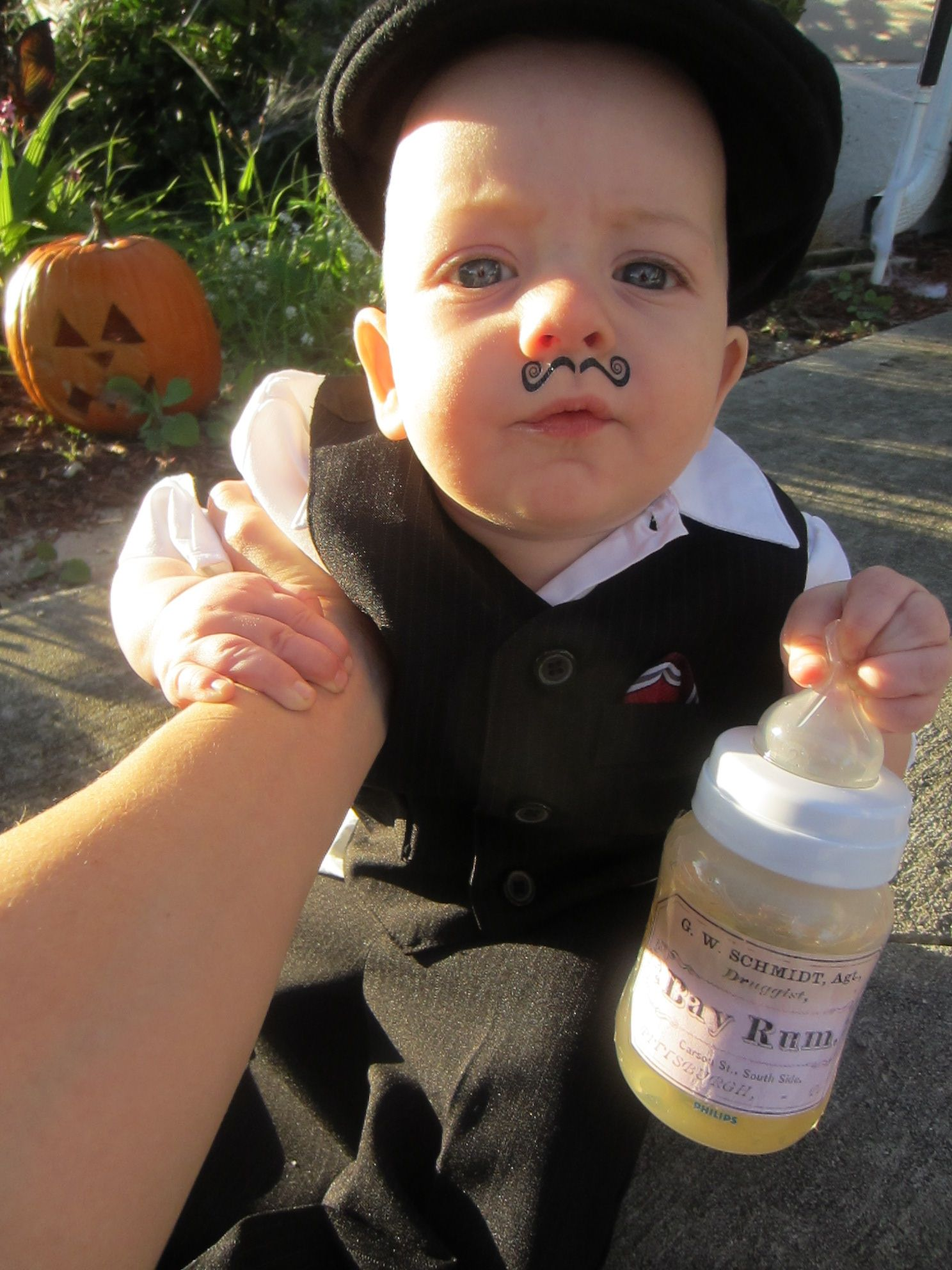 homemade halloween costume for baby infant toddler rum runner suit finger mustache temporary tattoo and bottle of chamomile tea with a rum label from - Halloween Costume Ideas Mustache