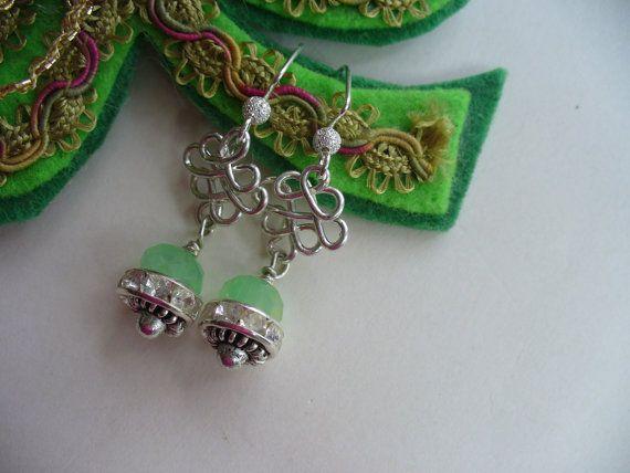 Saint Patrick's Day Earrings Mint Green Glass by DLAbeaddesign