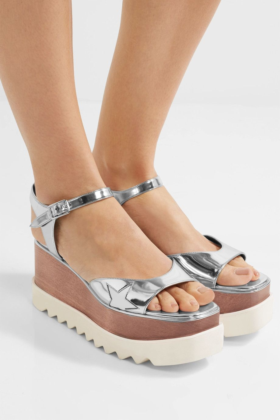 for sale finishline Stella McCartney Metallic Logo Sandals free shipping real qa0XTod