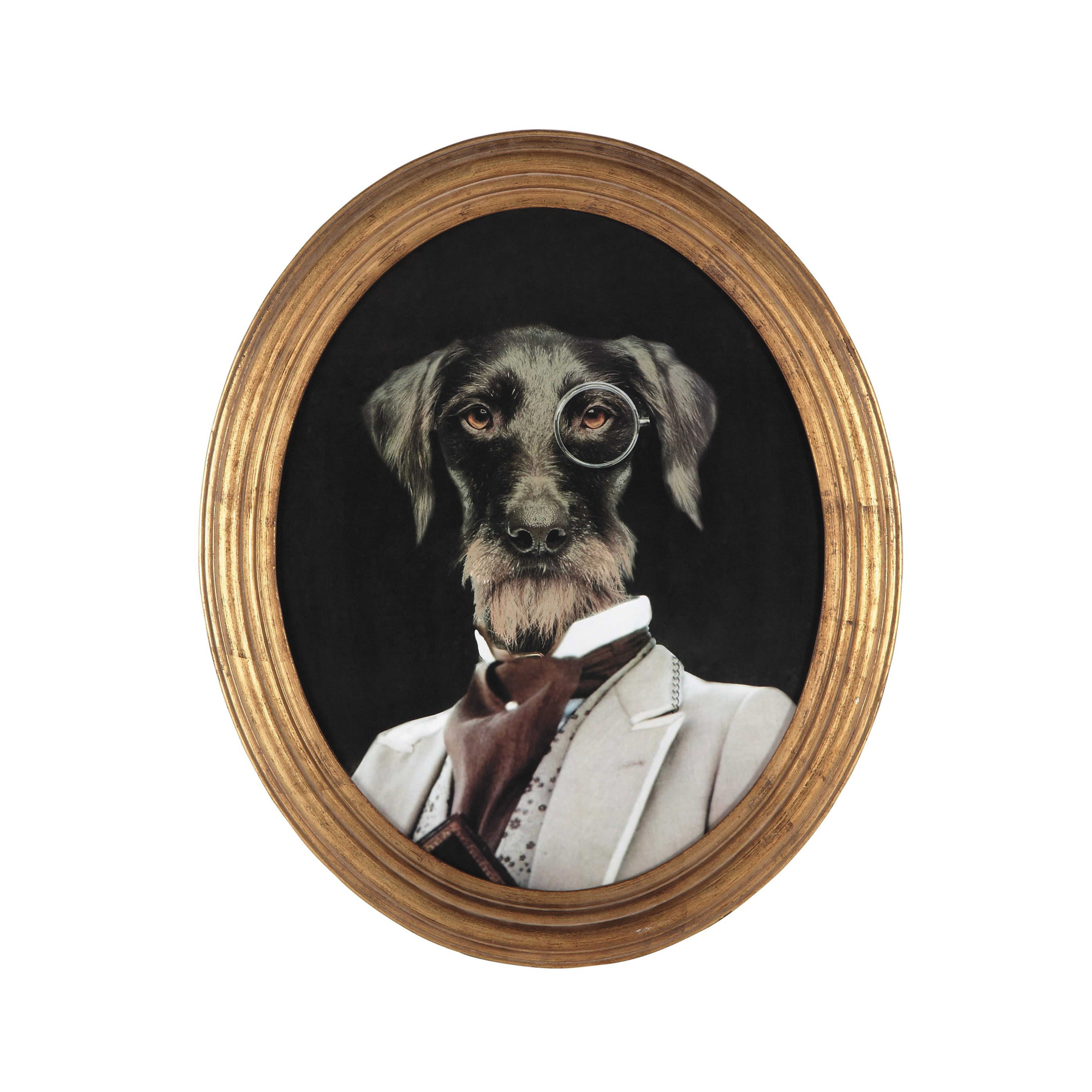 cadre d co chien en bois 53 x 64 cm oscar toilets en. Black Bedroom Furniture Sets. Home Design Ideas