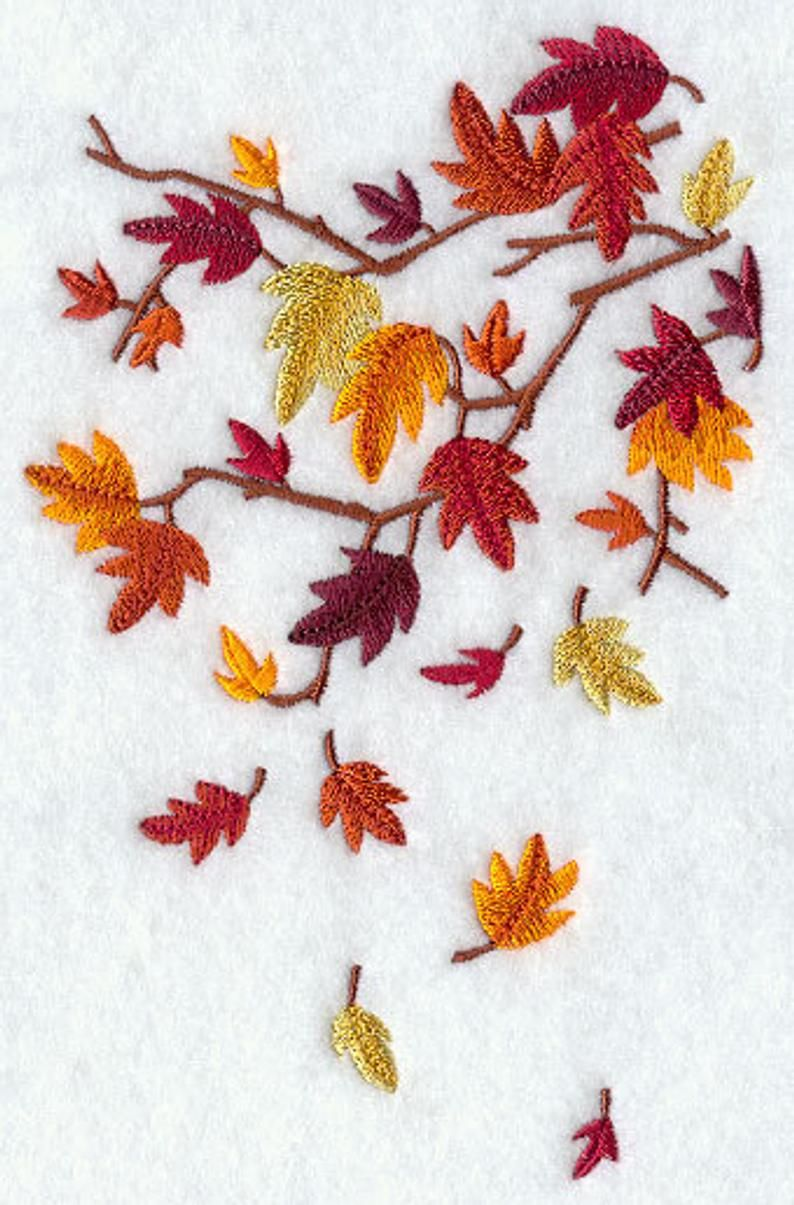 Brilliant Autumn Leaves Falling Embroidered Waffle Weave Hand/Dish Towel #autumnleavesfalling