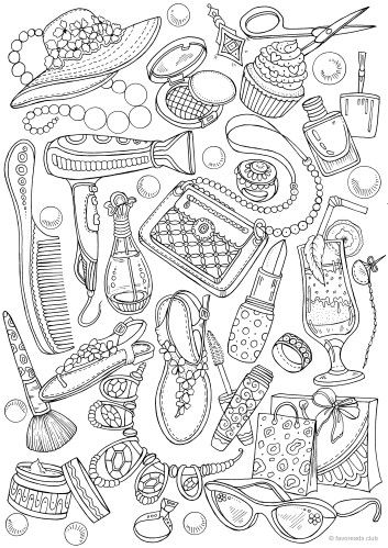 Girly Stuff Coloring book pages, Printable adult