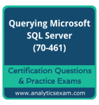 analyticsexam.com is intended to serve best online practice for 70-461 practice test on Querying Microsoft SQL Server. Online practice exams are prepared by SQL server experts and experienced professionals. http://www.analyticsexam.com/microsoft-certification/70-461-querying-microsoft-sql-server-20122014