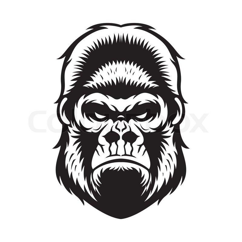 c318dd716 Stock vector of 'gorilla head vector graphic illustration black and white'