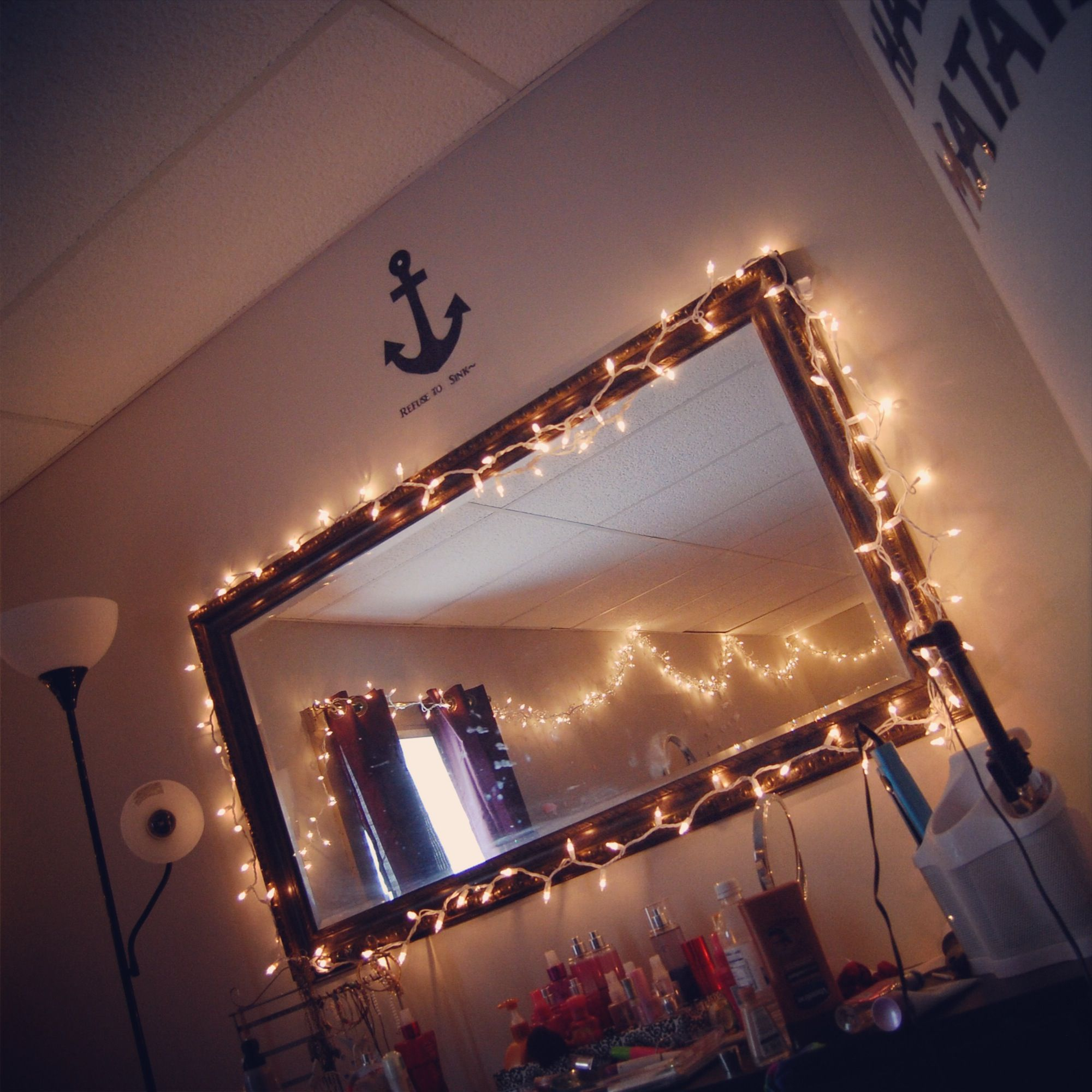 Vanity With String Lights : tumblr room. mirror with lights around them:) Future Home Pinterest String lights, The ...