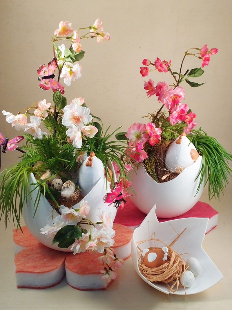 Idee allestimento vetrine pasqua e primavera fai da te fiori artificiali colorati decorativi e - Fai da te pasqua decorazioni ...