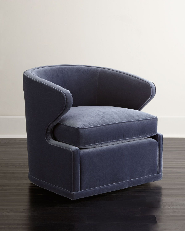 Best Dyna St Clair Navy Velvet Swivel Chair Leather Swivel 640 x 480