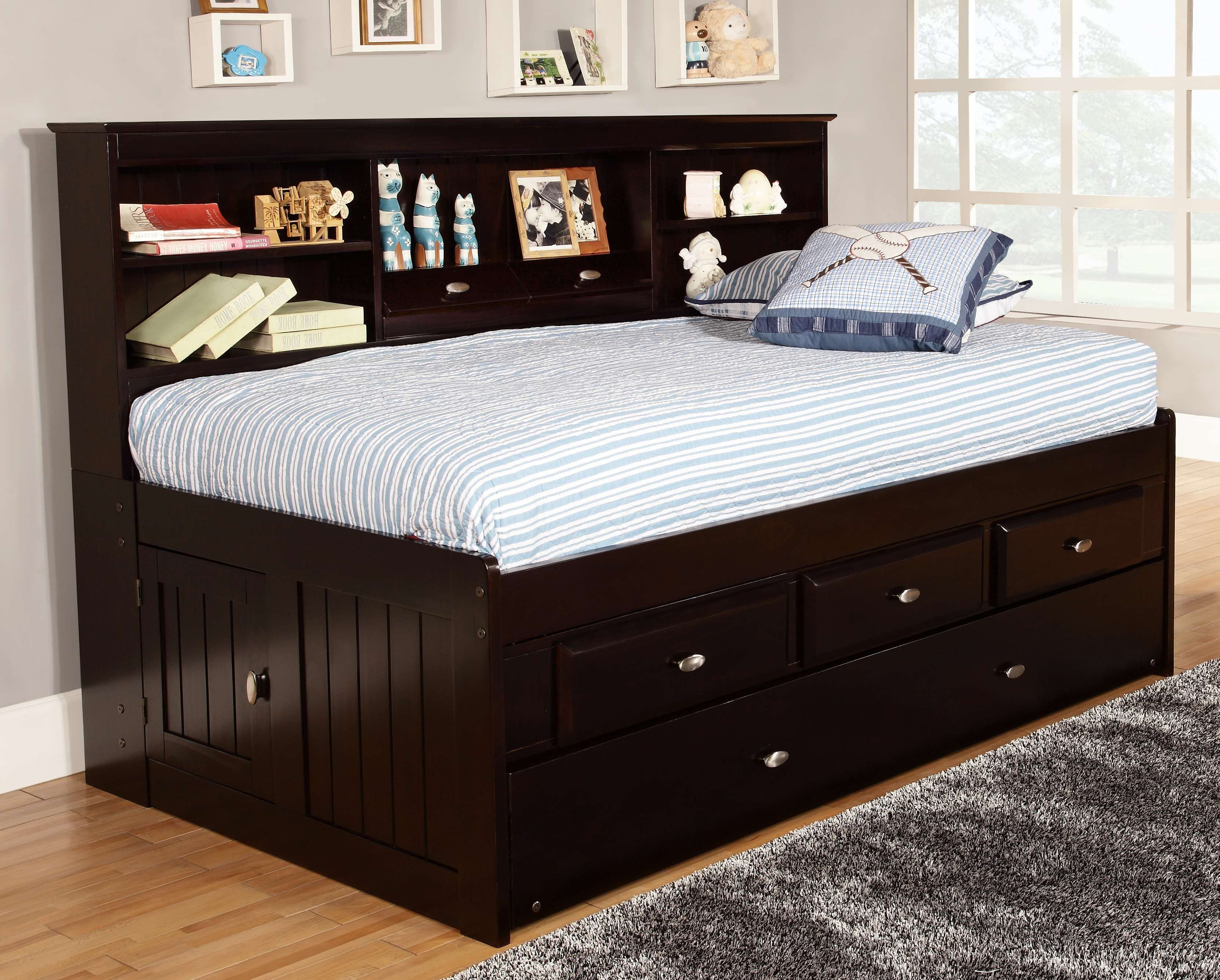 Discovery World Furniture Espresso Twin Captain Day Beds Daybed With Storage Twin Bed With