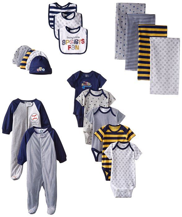 4c126370d Gerber Baby-Boys Newborn Sports 19 Piece Essentials Gift Set