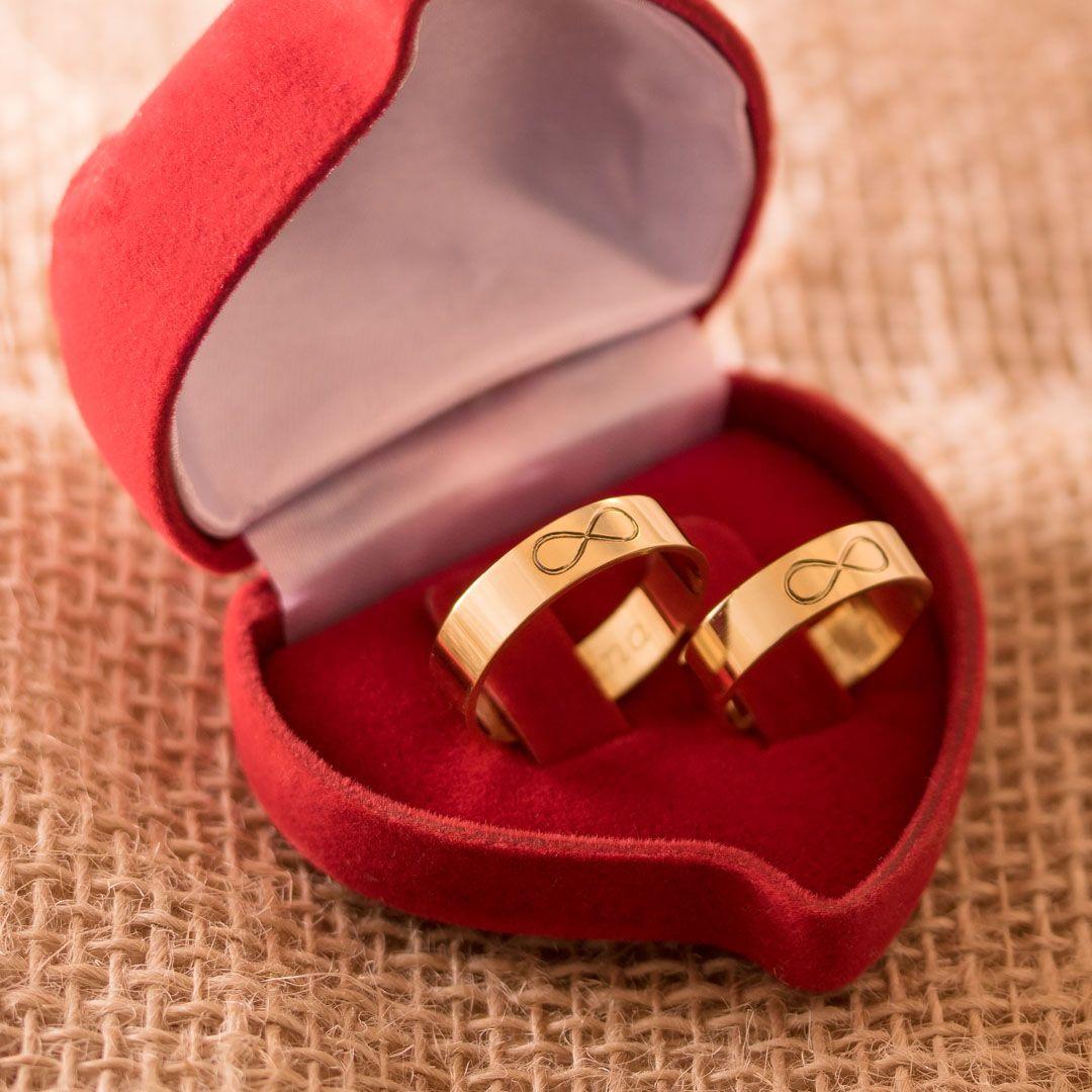 Aliancas Casamento Ouro Infinito Polidas 5mm 8g Com Imagens