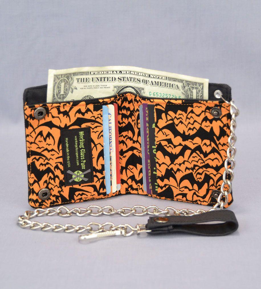 vegan chain wallet halloween black bats on orange with black canvas available at workingclasspunxcom