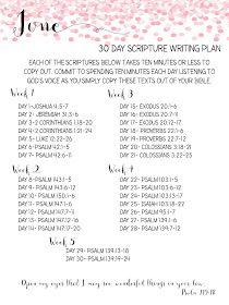 Sweet Blessings: June Scripture Writing Plan