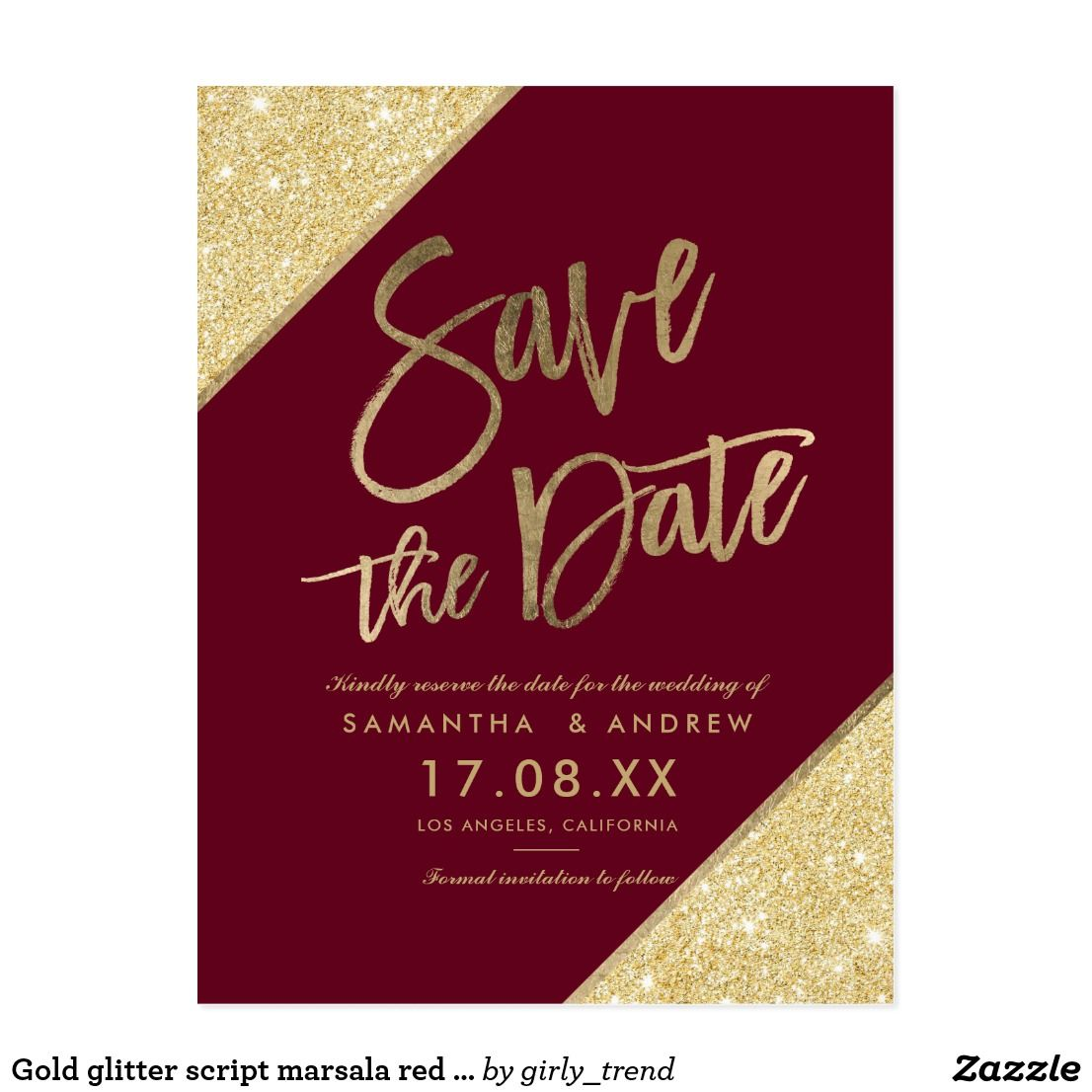Gold glitter script marsala red save the date announcement postcard ...