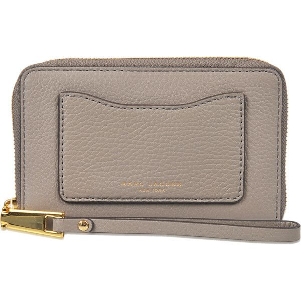 Marc Jacobs Recruit Zip Phone Wristlet ($155) ❤ liked on Polyvore featuring accessories, tech accessories, beige, marc jacobs wristlet, marc jacobs, zip wristlet and zipper wristlet