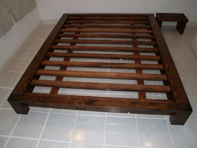 Queen Size Bed Frame For A Comfort Sleep: Elegant Wooden Style Queen Size  Bed Frame