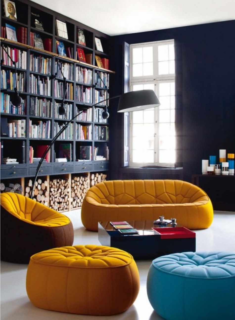Captivating Dark Library, Bright Sofas Pictures Gallery