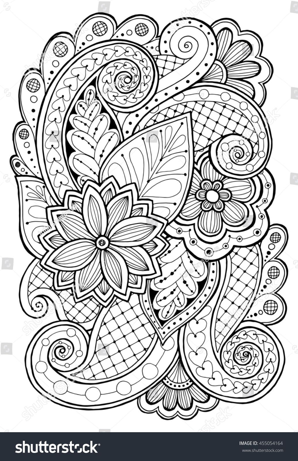 Hand Drawn Patterns With Flowers Ornate Patterns With Abstract Flowers And Leaves Doodle Floral B Pattern Coloring Pages Flower Coloring Pages Coloring Pages