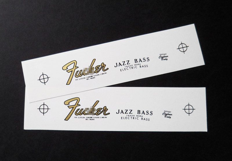 Two Guitar Headstock Waterslide Decals Fucker Jazz Bass 65-67