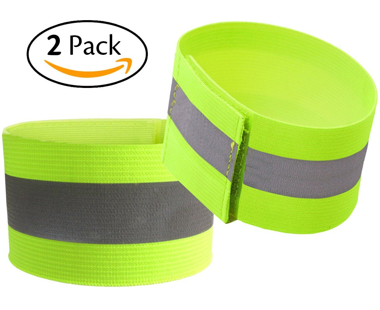 Safety Clothing Pack Of 2 High Visibility Safety Reflective Vest Lightweight Adjustable Elastic Reflective Bands For Wrist Arm Ankle Leg