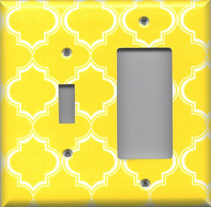 Bright Yellow and White Quatrefoil Lattice Light Switch Covers & Outlet Covers