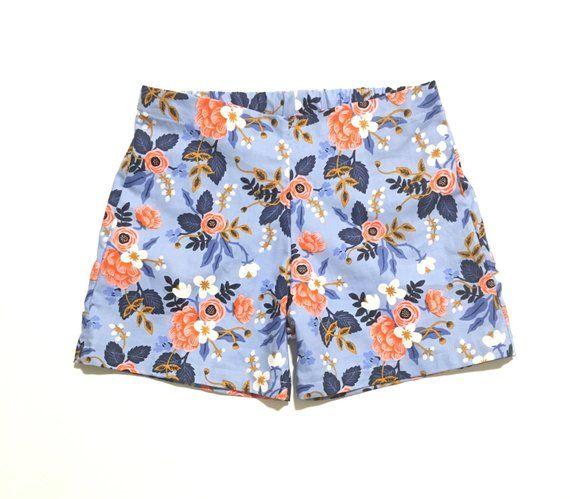 Blue Floral Shorts, Girls Shorts, Garden Shorts, Toddler Shorts, Kids Shorts, Baby Girl Shorts #toddlershorts
