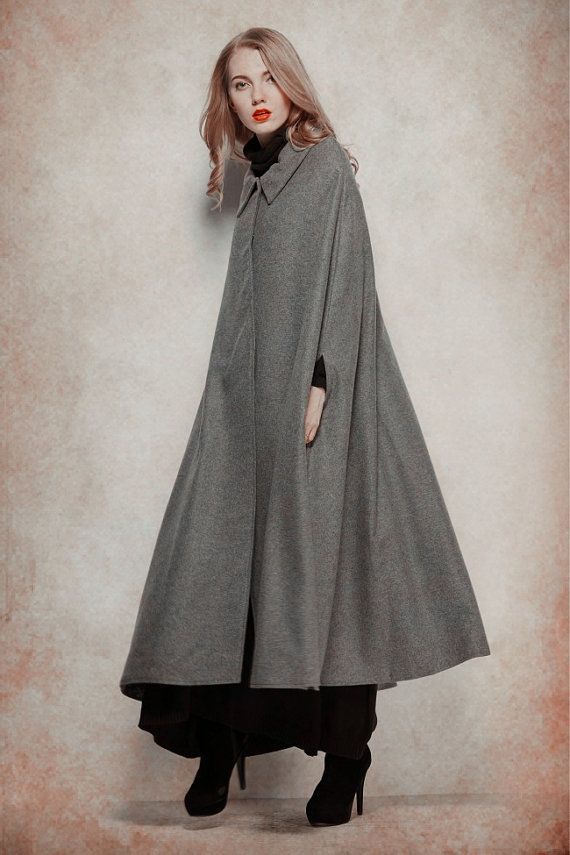 Grey Wool Coat, Long Cashmere Coat, Wool Cape, Wool Cloak, Single ...
