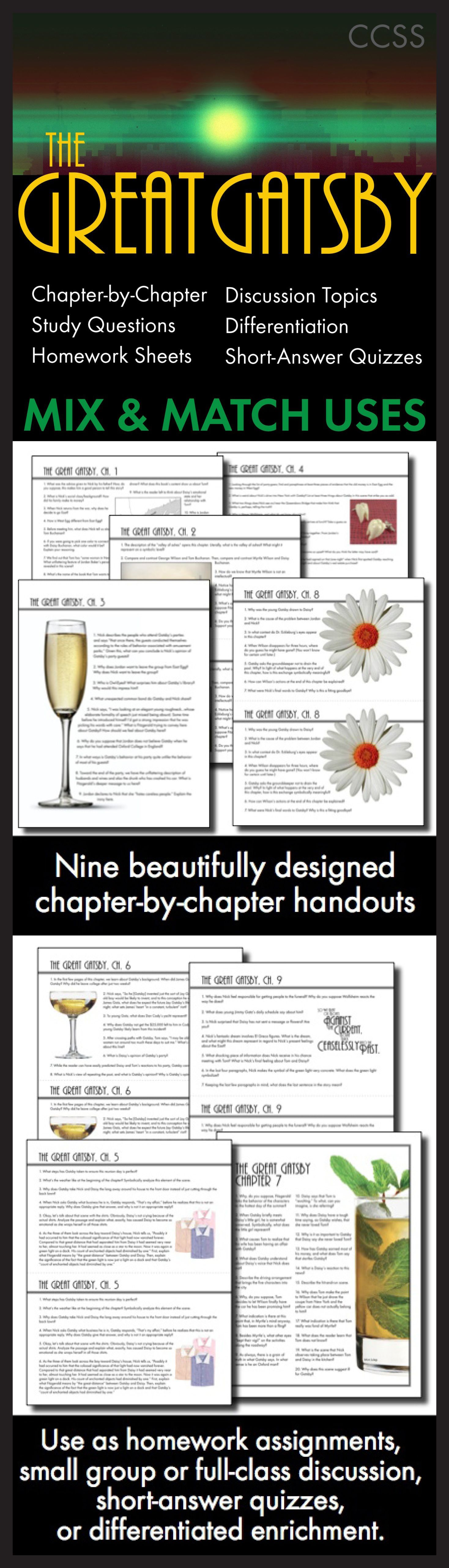 Great Gatsby Worksheets Quizzes Hw Discussion For