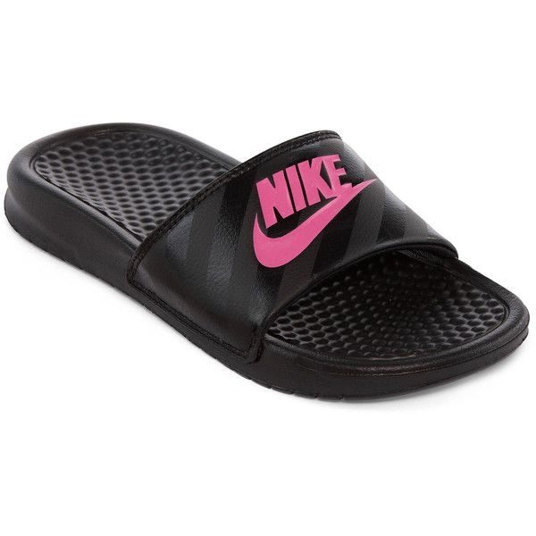 d7442af40f394 Nike Benassi Solarsoft Womens Slide Sandals ( 20) ❤ liked on Polyvore  featuring shoes