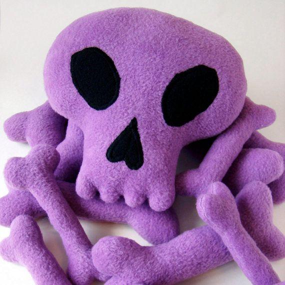 Plush Skull and pile of bones Light purple soft by blacklilypie, $45.00