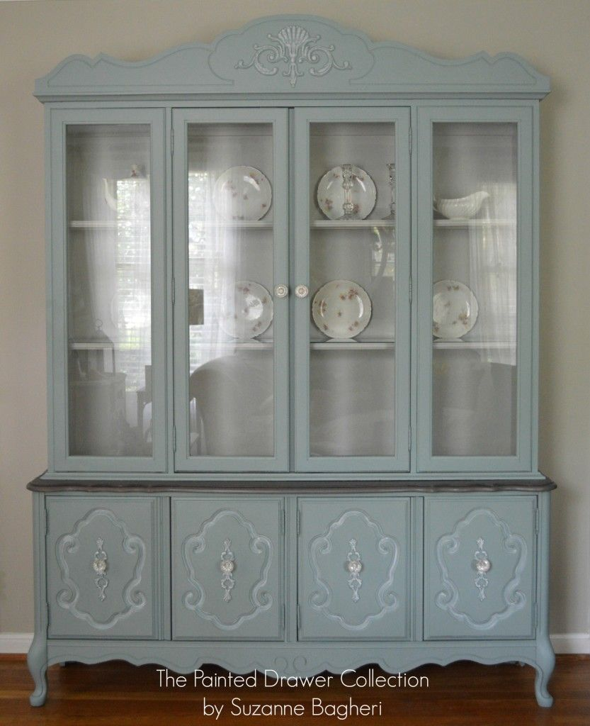 Bassett China Cabinet In Persian Blue And Seagull Gray Thepainteddrawer