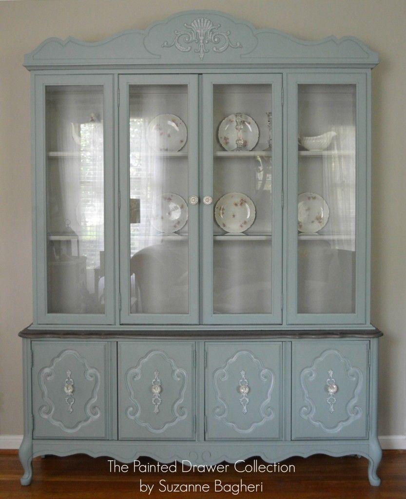 Bassett China Cabinet In Persian Blue And Seagull Gray Thepainteddrawer