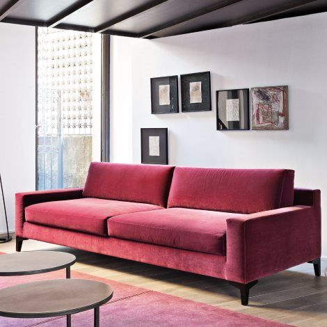 Live Sofa By Meridiani: Deep Pink Velvet Sofa With Clean Lines, Box Cushions ,