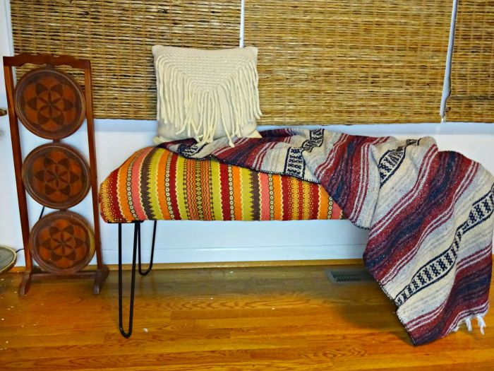 Boho Eclectic Bench Using A Discontinued World Market With Hairpin Legs It S Like The Calypso