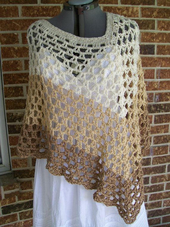 Plus Size Crochet Poncho, Cover Up, Shawl, Wrap- with Flower Pin- in ...