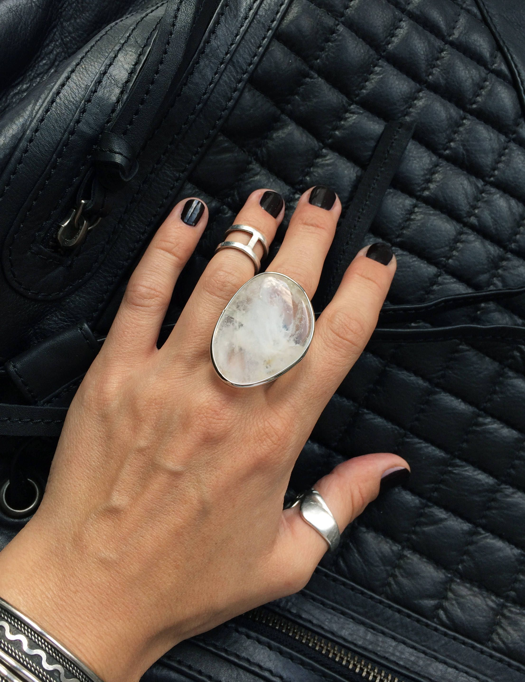 unique chunky ring for women unusual black and silver bold big ring Large statement ring