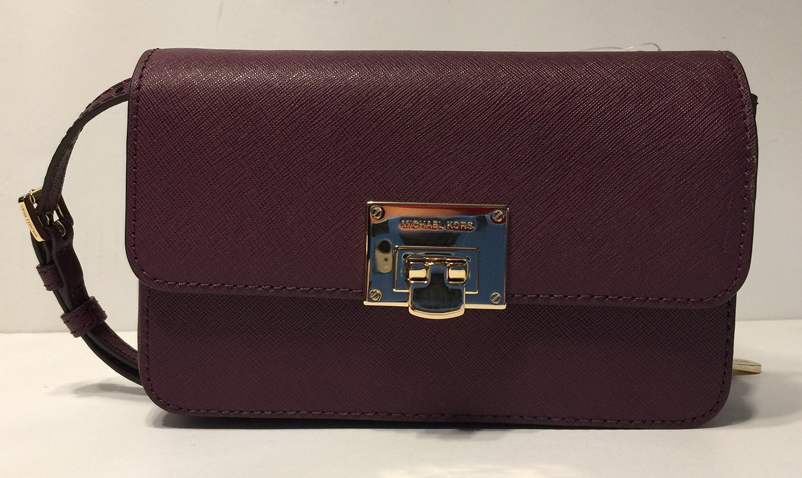 ebc212996735 MICHAEL Michael Kors Tina Clutch Crossbody with Detachable Wallet Signature  MK Brown/Plum >>> You can find out more details at the link of the image.