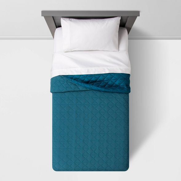 Full/Queen Vintage Wash Jersey Quilt Terrific Turquoise - Pillowfort