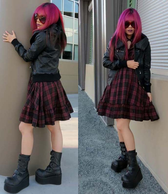 Goth Grunge Outfit Post Featuring Kera Platform Boots Marc Jacob Dot Big Sunglasses Miho ...