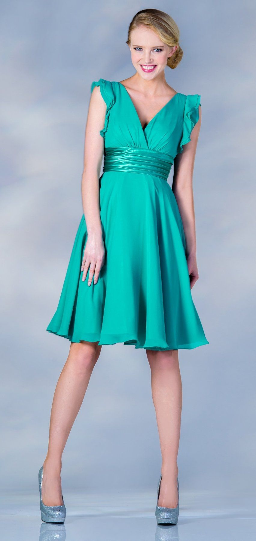 Knee length Chiffon Jade Dress V Neck A Line Wide Strap | modelos ...